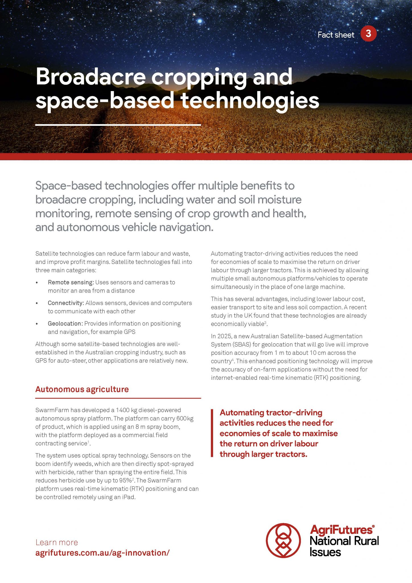 Fact sheet: Broadacre cropping and space-based technologies - image