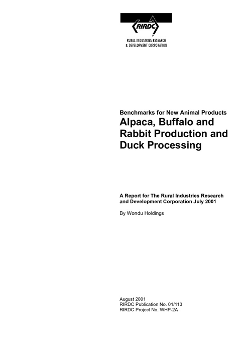 Alpaca, buffalo and rabbit production and duck processing - image