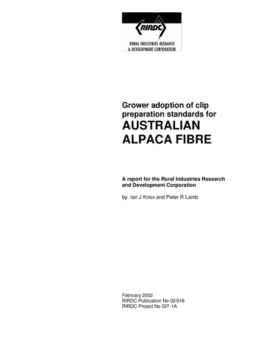Clip Preparation Standards for Australian Alpaca Fibre - Grower Adoption - image