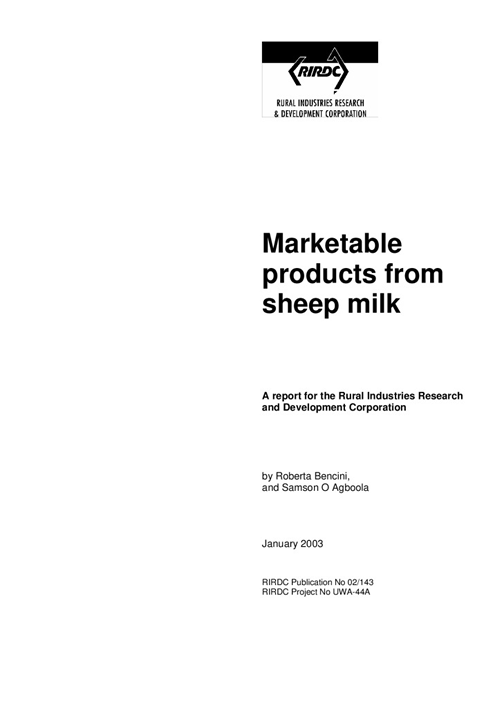 Marketable Products from Sheep Milk - image