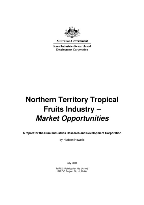 N.T. Tropical Fruits Industry Market Opportunities - image
