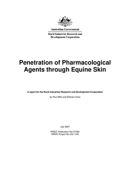 Penetration of Pharmacological Agents through Equine Skin - image