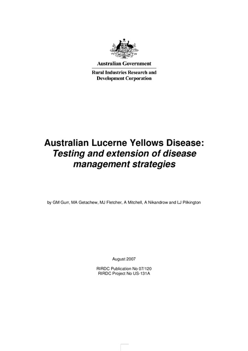 Australian Lucerne Yellows Disease: Testing and Extension of Disease Management Strategies - image