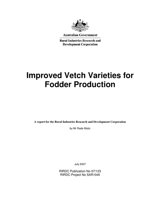 Improved Vetch Varieties for Fodder Production - image