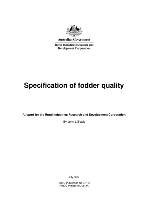 Specification of Fodder Quality - image