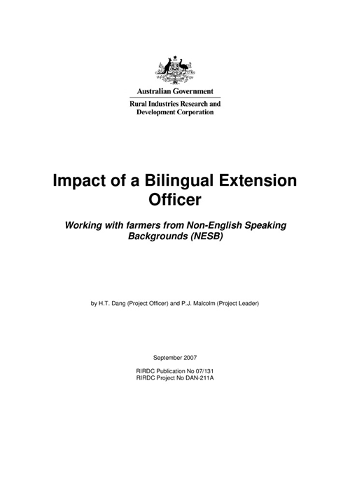 Impact of a Bilingual Extension Officer - Working farmers from non-English speaking backgrounds (NESB) - image