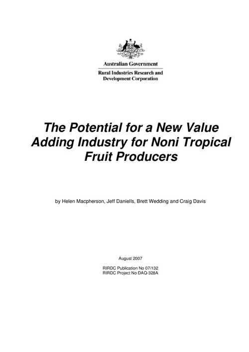 The Potential for a New Value Adding Industry for Noni Tropical Fruit Producers - image