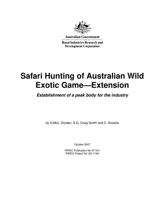 Safari Hunting of Australian Wild Game – Extension: Establishment of a peak body for the industry - image
