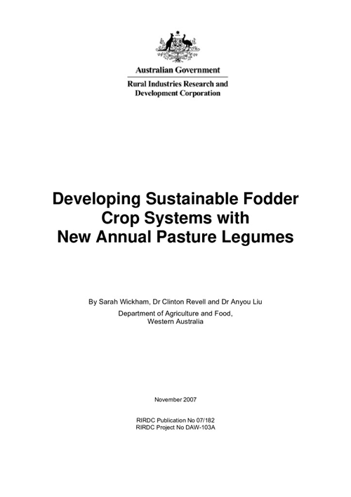 Developing Sustainable Fodder Crop Systems with New Annual Pasture Legumes - image
