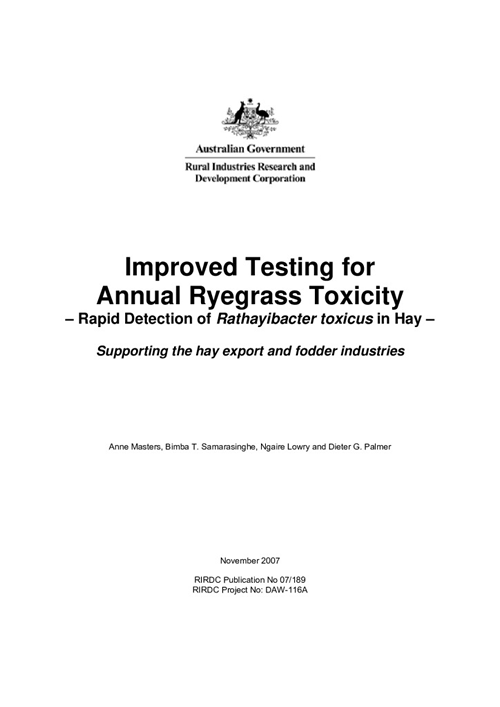 Improved Testing for Annual Ryegrass Toxicity. Rapid Detection of Rathayibacter toxicus in Hay - Supporting the hay export and - image