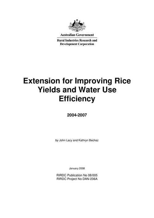 Extension for improving rice yields and water use efficiently 2004-2007 - image