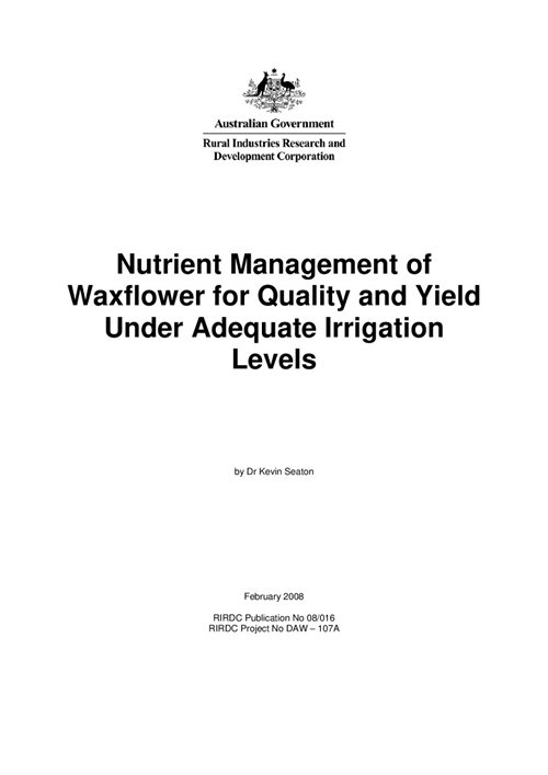 Nutrient Management of Waxflower for Quality and Yield Under Adequate Irrigation Levels - image