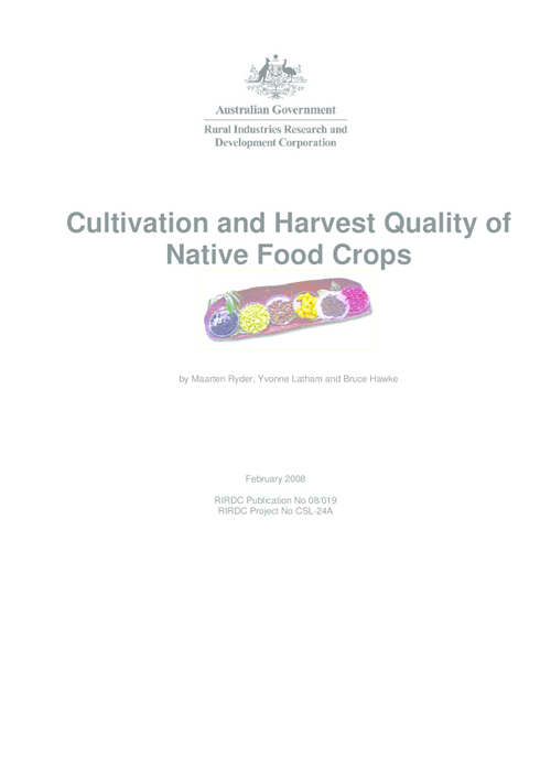 Cultivation and Harvest Quality of Native Foods Crops - image