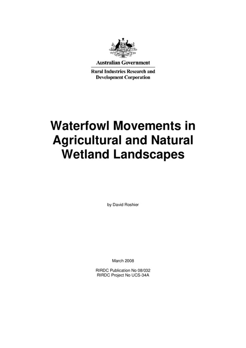 Waterfowl Movements in Agricultural and Natural Wetland Landscapes - image