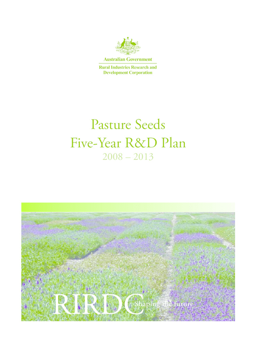 Pasture Seeds Five-Year R&D Plan 2008-2013 - image
