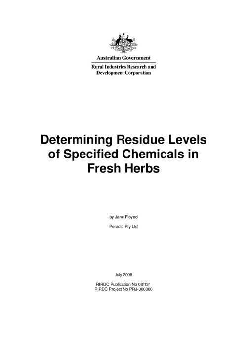 Determining Residue Levels of Specified Chemicals in Fresh Herbs - image