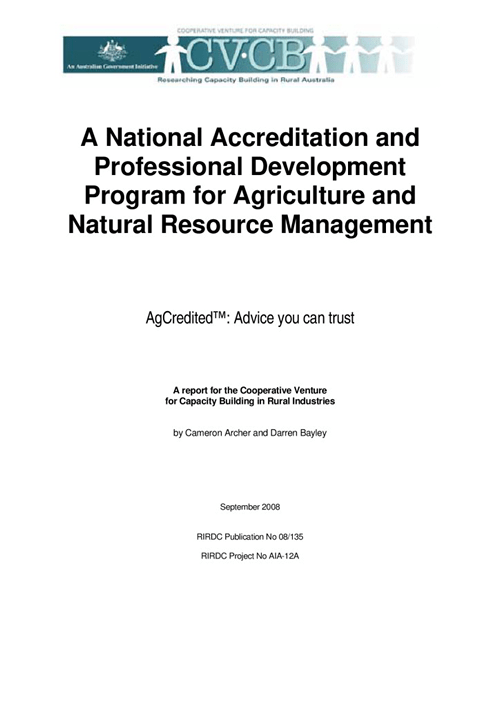 A National Accreditation and Professional Development Program for Agriculture and Natural Resource Management - image