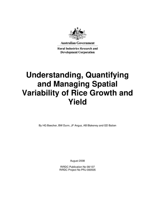 Understanding, quantifying and managing special variability of rice growth and yield - image