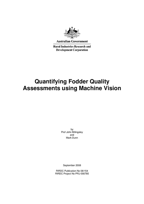 Quantifying fodder quality assessments using machine vision - image
