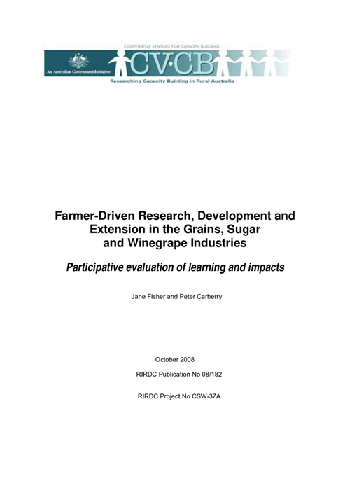 Farmer Driven Research, Development and Extension in the Grains, Sugar and Winegrape Industries- Participative evaluation of lea - image