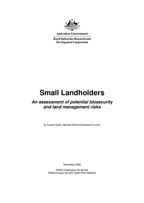 Small Landholders - An assessment of potential biosecurity and land management risks - image