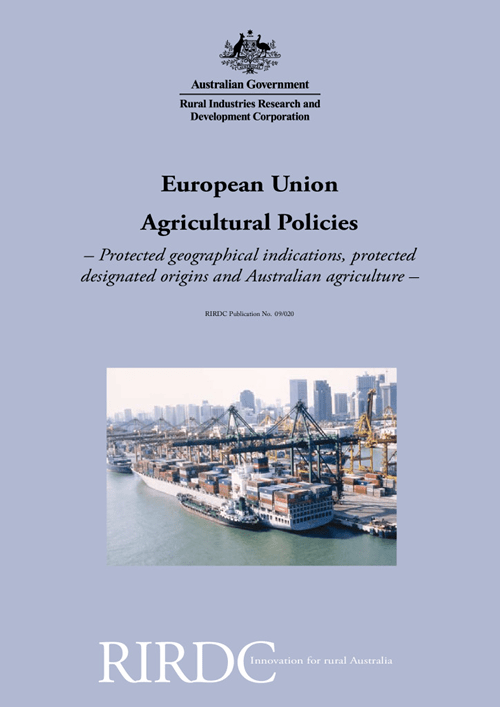 European Union Agricultural Policies - Protected geographical indications, protected designated origins and Australian agricultu - image