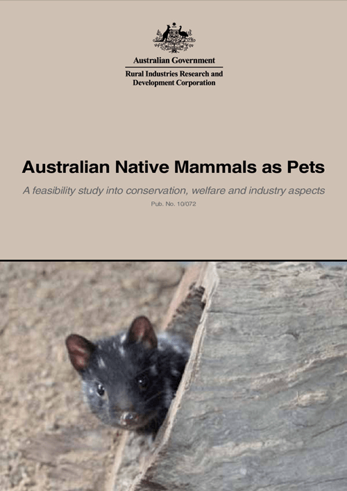 Australian Native Mammals  as Pets: A feasibility study into conservation, welfare and industry aspects - image