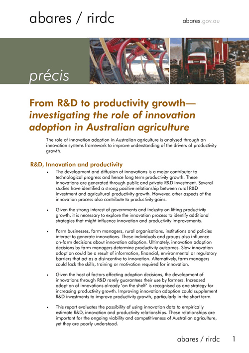 Precis - From R&D to Productivity Growth: Investigating the role of innovation adoption in Australian agriculture - image