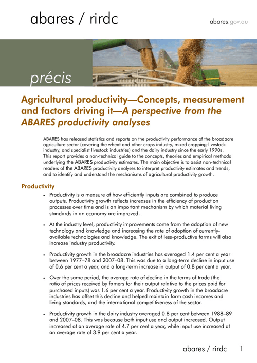 Precis - Agricultural Productivity: Concepts, Measurement and Factors Driving It - image