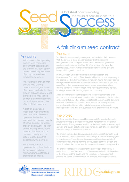 A fair dinkum seed contract - image