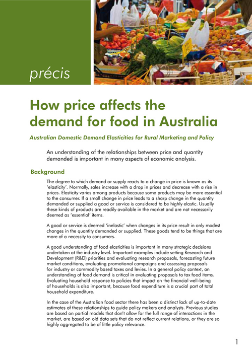 How Price Affects the Demand for Food in Australia Precis - image