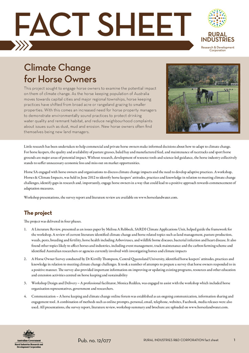Climate Change for Horse Owners: Fact sheet - image