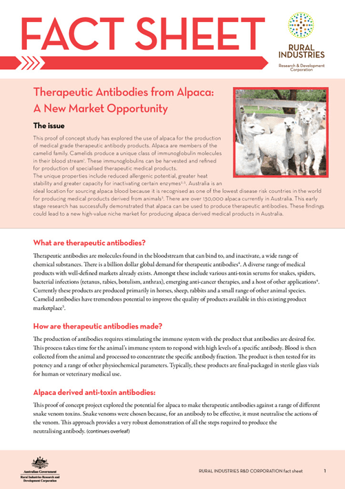 Therapeutic antibodies from Alpaca: A new market opportunity - fact sheet - image
