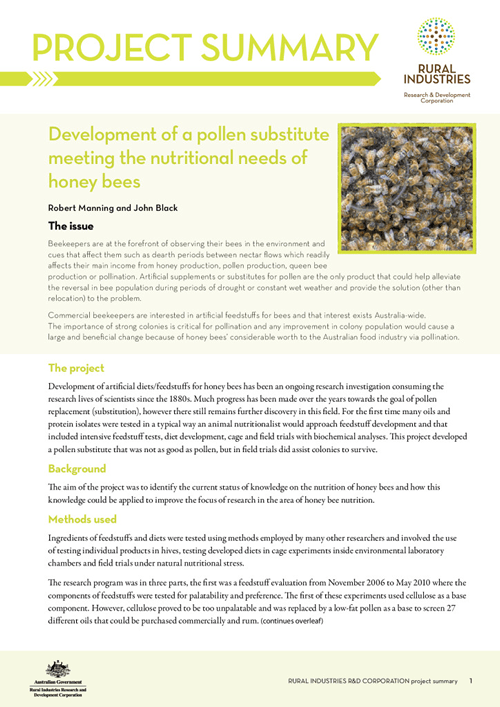 Project summary: Development of a pollen substitute meeting the nutritional needs of honey bees - image