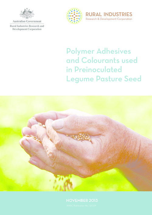 Polymer Adhesives and Colourants used in Preinoculated Legume Pasture Seed - image