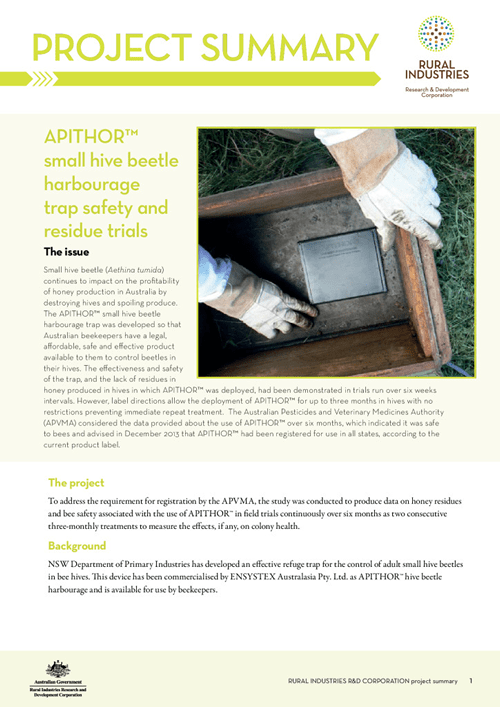 APITHOR™ small hive beetle harbourage trap safety and residue trials - project summary - image