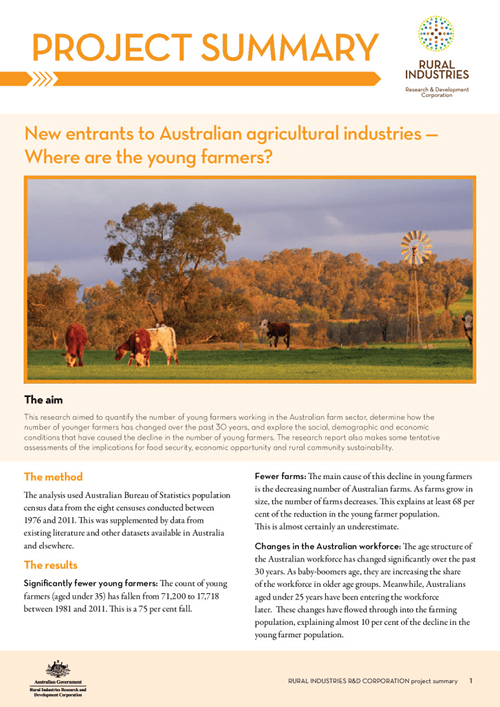 New entrants to Australian agricultural industries –Where are the young farmers? Project summary - image
