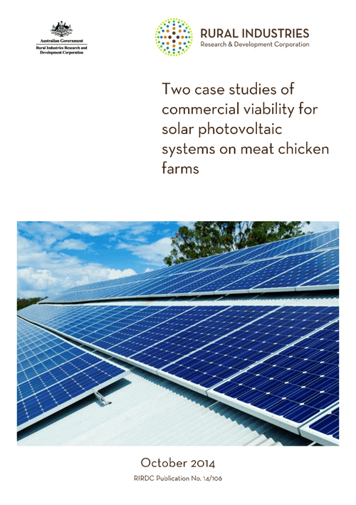 Two case studies of commercial viability for solar photovoltaic systems on meat chicken farms - image