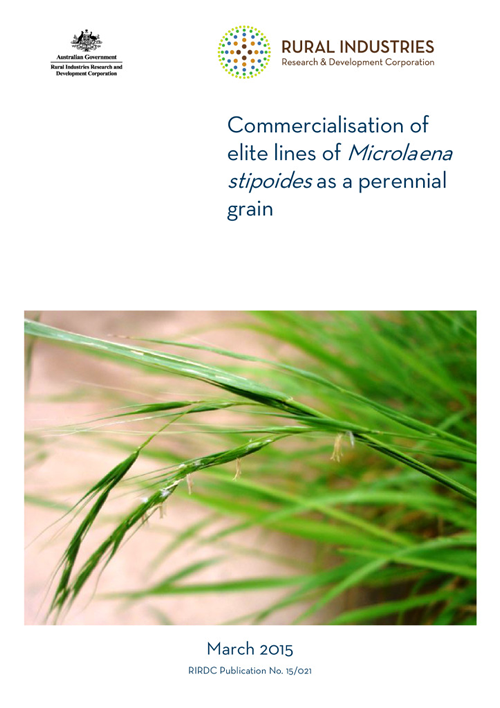 Commercialisation of elite lines of Microlaena stipoides as a perennial grain - image