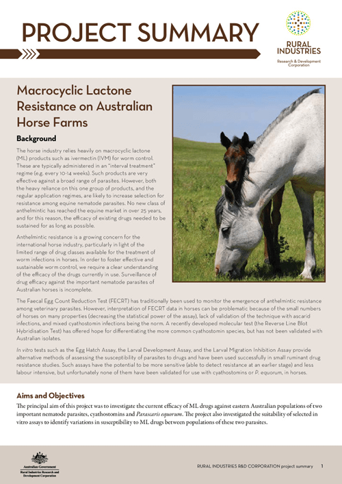 Macrocyclic Lactone Resistance on Australian Horse Farms - image