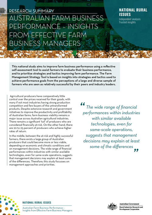 Research Summary: Australian Farm Business Performance – insights from effective farm business managers - image