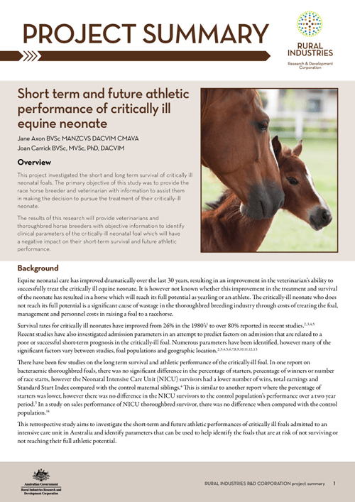 Short term and future athletic performance of critically ill equine neonate - image