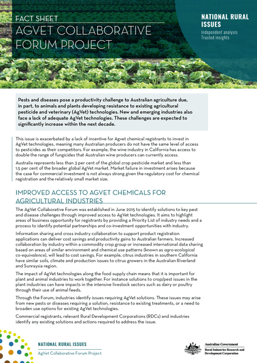 Agvet collaborative forum project - fact sheet - image