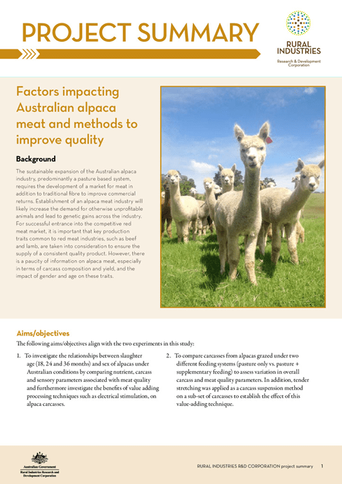 Factors impacting Australian alpaca meat and methods to improve quality - Project Summary - image