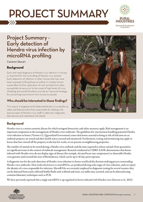 Project Summary - Early detection of Hendra virus infection by microRNA profiling - image