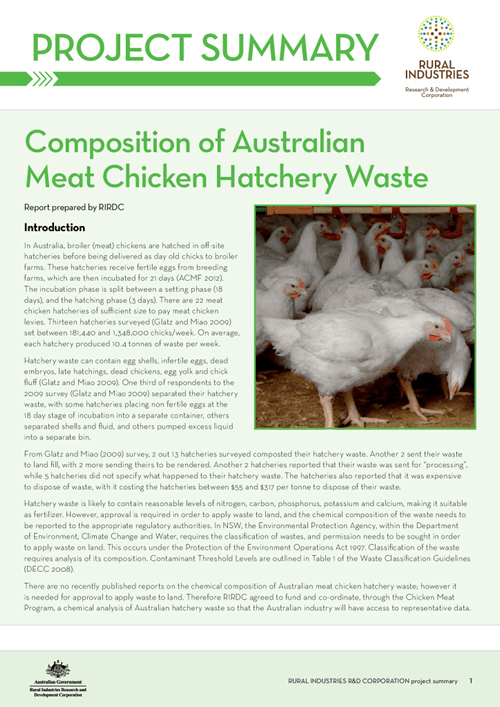 Composition of Australian Meat Chicken Hatchery Waste - image