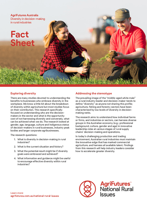 Fact Sheet: Diversity in decision-making in rural industries - image