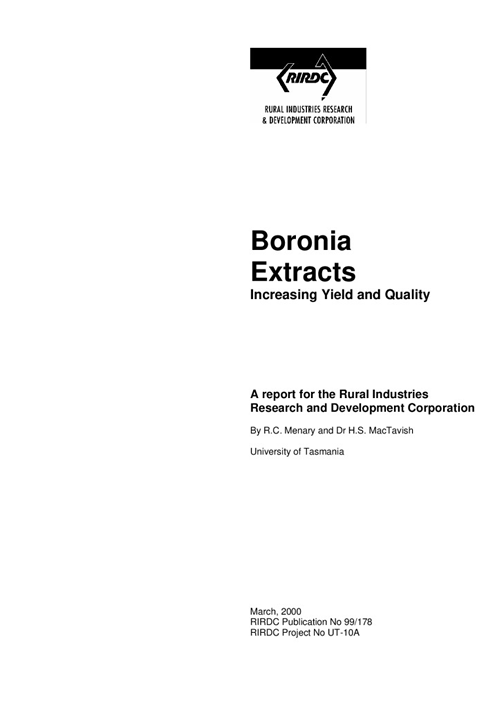 Boronia extracts – increasing yield and quality - image
